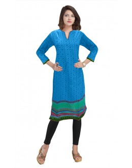Ethnic Wear Readymade Sky Blue Cotton Kurti - 50140A