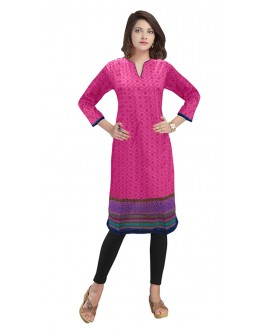 Festival Wear Readymade Pink Cotton Kurti - 50140C