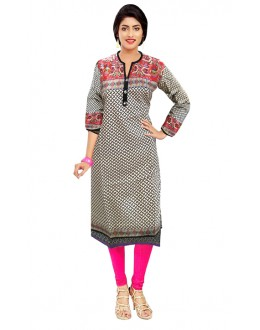 Office Wear Readymade Off White Cotton Kurti - 50142