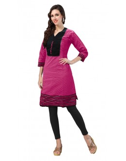 Festival Wear Readymade Pink Cotton Kurti - 50143C