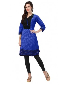 Casual Wear Readymade Blue Cotton Kurti - 50143D