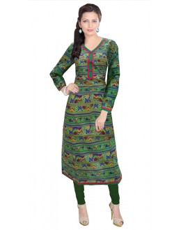 Office Wear Readymade Green Cotton Kurti - 50144