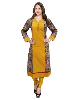 Festival Wear Readymade Mustard Cotton Kurti - 50147