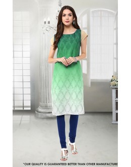Ethnic Wear Readymade Green Crepe Kurti - 50289