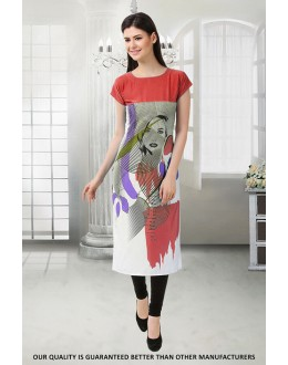 Readymade Red & White Crepe Printed Kurti - 50313