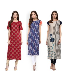Casual Wear Readymade Combo Pack Of 3 Kurti - 50-326-327-332