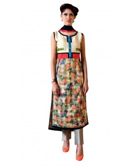 Casual Wear Readymade Multi-Colour Taffeta Kurti - 50412