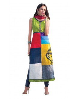 Ethnic Wear Readymade Multi-Colour Taffeta Kurti - 50424