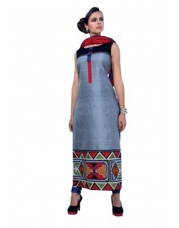 Traditional Wear Readymade Multi-Colour Taffeta Kurti - 50430