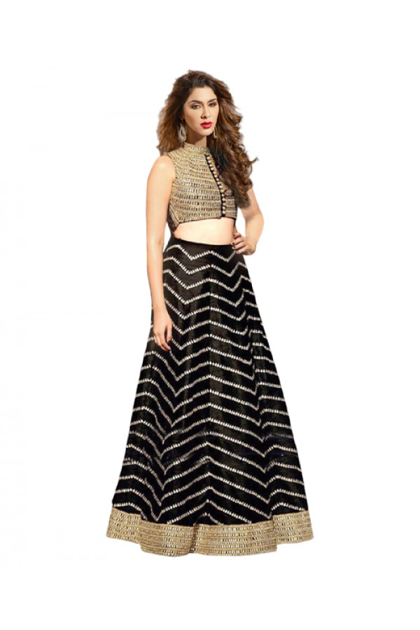 Bollywood Replica Black Banglori Silk  Lehnega Choli - 60070