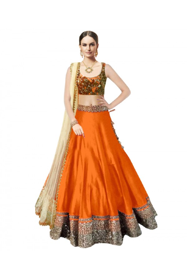 Bollywood Replica Orange Banglori Silk  Lehnega Choli - 60086
