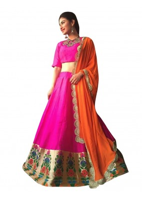Bollywood Replica -  Navratri Special Pink & Orange Lehenga Choli - 60088
