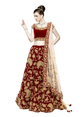 Bollywood Replica -  Wedding Wear Maroon & Cream Lehenga Choli - 60091