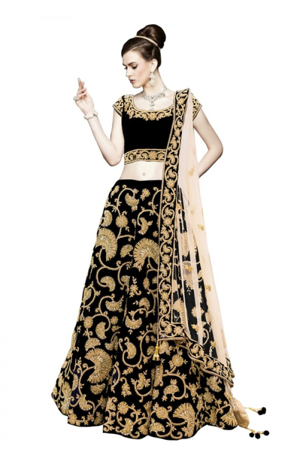 Bollywood Replica -  Designer Black & Cream Lehenga Choli - 60092