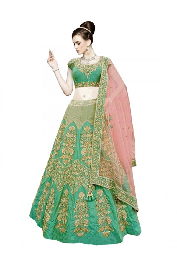 Bollywood Replica -  Wedding Wear Sea Green Lehenga Choli - 60111