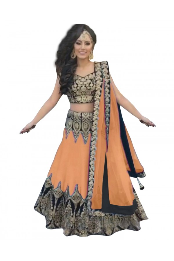 Bollywood Replica -  Designer Orange & Black Lehenga Choli - 60112