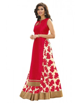 Bollywood Replica -  Party Wear Red Indo Westrn Lehenga  - 60130D