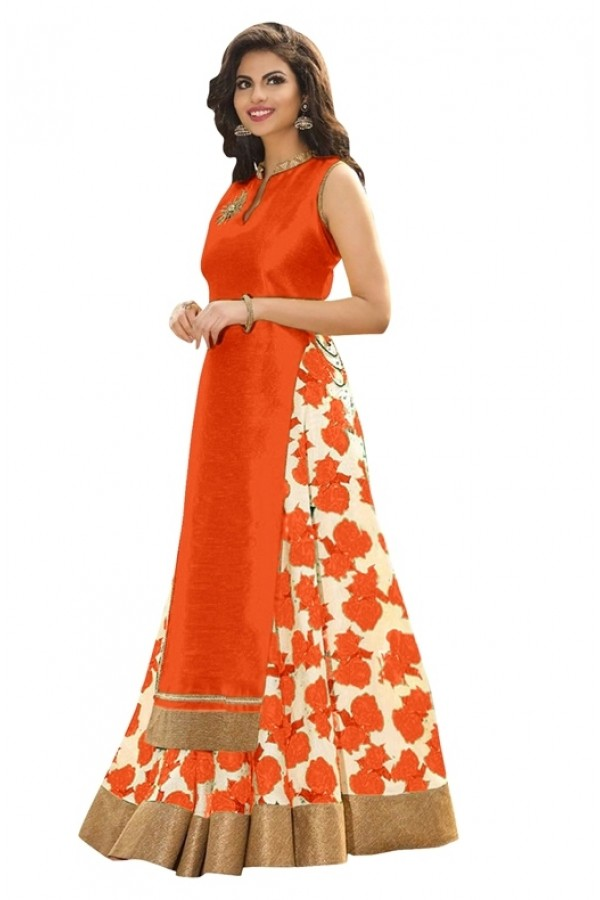 Bollywood Replica -  Ethnic Wear Orange Indo Westrn Lehenga  - 60130E