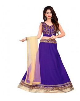 Wedding Wear Purple Bhagalpuri Embroidred Lehenga Choli - 60084