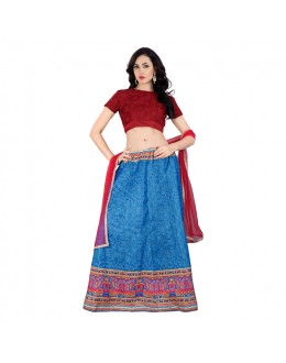 Festival Wear Blue Embroidery Lehenga Choli - 60264