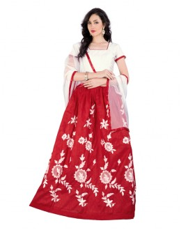 Traditional Wear White Semi Stitched Lehenga Choli - 70573