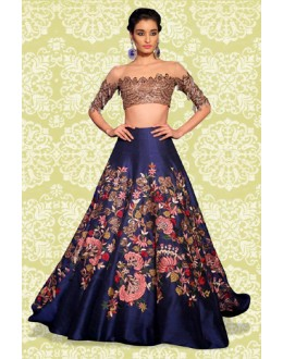 Bollywood Replica - Fancy Blue & Golden Lehenga Choli - 60161
