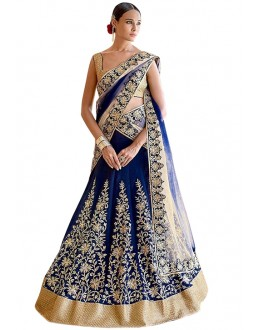 Wedding Wear Blue & Gold Banglori Silk Lehenga Choli - 60226