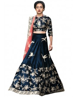 Ethnic Wear Blue & Peach Lehenga Choli - 60229