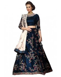 Festival Wear Blue & Cream Lehenga Choli - 60230