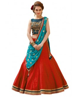 Ethnic Wear Red & Blue Banglori Silk Lehenga Choli - 60232