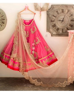 Bollywood Replica -  Wedding Wear Pink Net Lehenga Choli - 60249