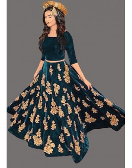 Bollywood Inspired  - Designer Rama Green Lehenga Choli - 60223C
