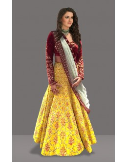 Bollywood Inspired  - Bridal Wear Yellow Lehenga Choli - 60280