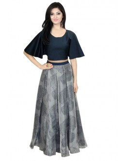 Bollywood Inspired  - Traditional Grey & Blue Lehenga Choli - 60330
