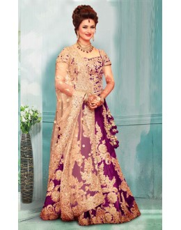 Bollywood Inspired  - Divyanka Tripathi In Purple Lehenga Choli - 60159A