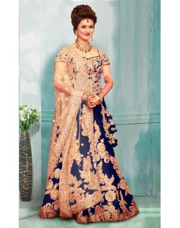 Bollywood Inspired  - Divyanka Tripathi In Blue Lehenga Choli - 60159C