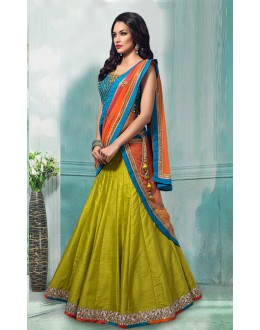 Bollywood Inspired  - Festival Wear Olive Lehenga Choli - 60335