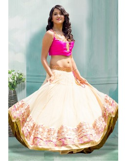 Bollywood Inspired  - Party Wear Cream Lehenga Choli - 60344