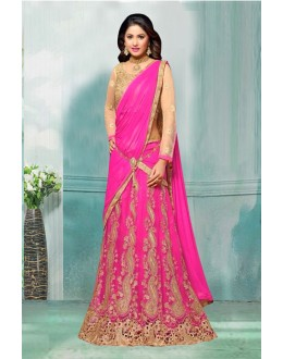 Hina Khan In Pink Net Lehenga Choli - 60355A