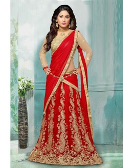 Hina Khan In Red Net Lehenga Choli - 60355C