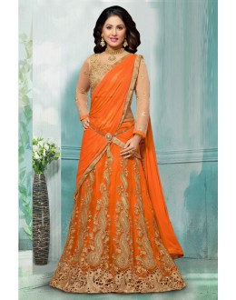 Hina Khan In Orange Net Lehenga Choli - 60355E