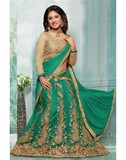 Hina Khan In Rama Green Net Lehenga Choli - 60355F
