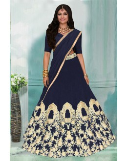 Festival Wear Navy Blue Tafeta Lehenga Choli -60350A