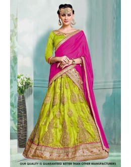 Parrot Green Colour Net Lehenga Choli - 60401