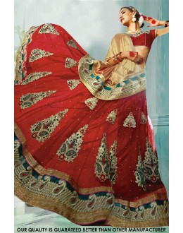 Wedding Wear Red Net Lehenga Choli - 60446
