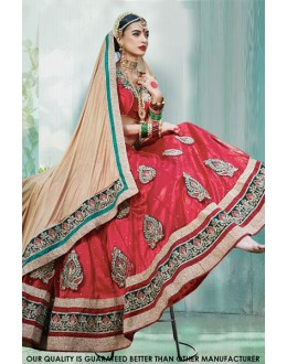 Wedding Wear Red Net Lehenga Choli - 60450