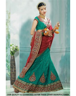 Festival Wear Green Net Lehenga Choli - 60452