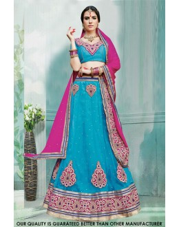 Traditional Sky Blue Net Lehenga Choli - 60453