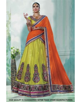 Yellow Net Embroidery Lehenga Choli - 60463