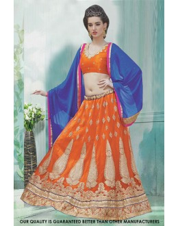 Designer Orange Net Lehenga Choli - 60473